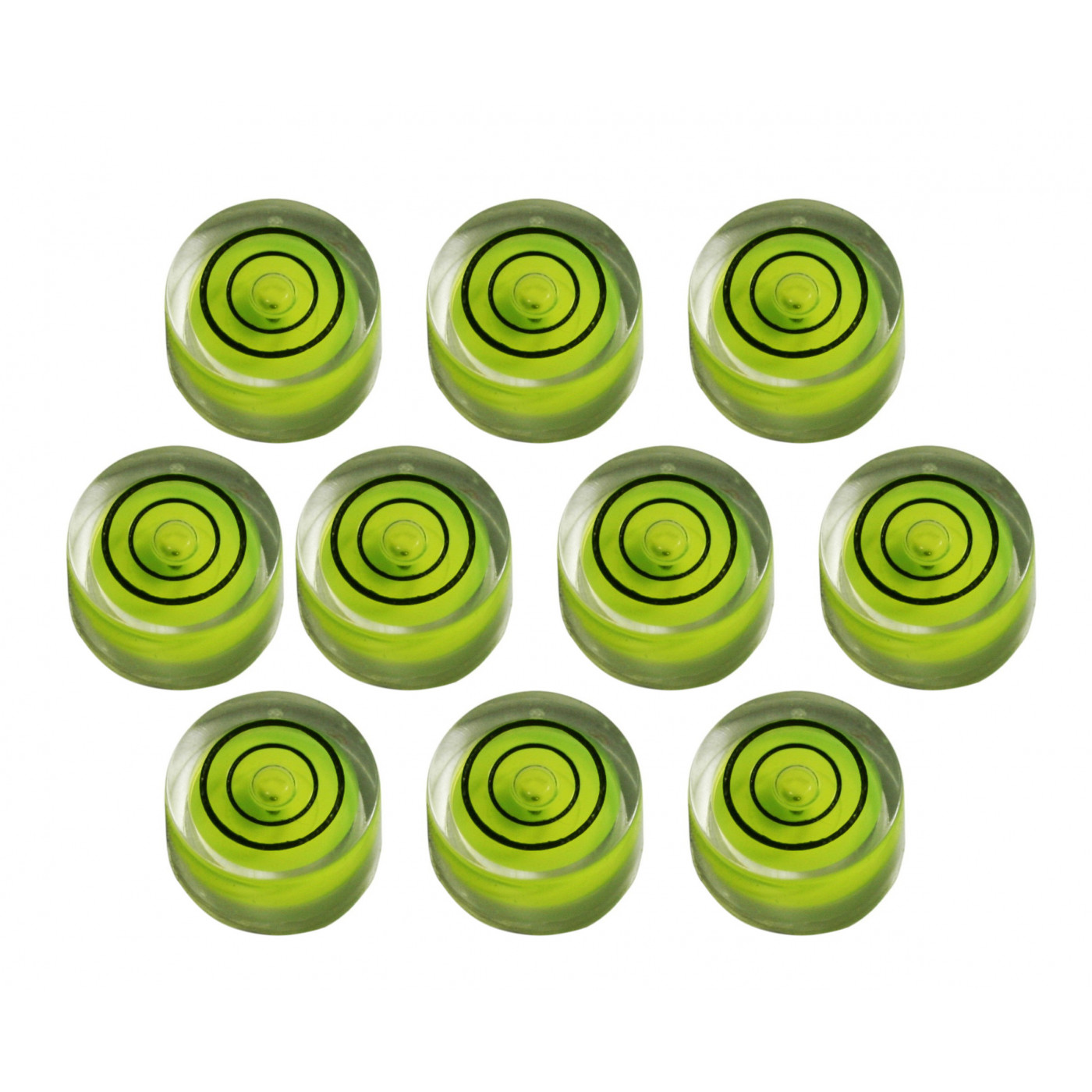 Set of 10 small round bubble levels size 8 (20x9 mm)