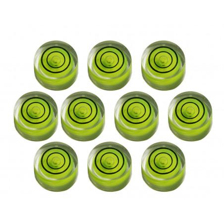 Conjunto de 10 pequenos níveis redondos de bolhas, tamanho 8 (20x9 mm)  - 1