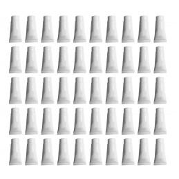 Set van 50 hervulbare, lege tubes, wit, 10 ml, met schroefdop