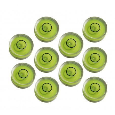 Conjunto de 10 pequenos níveis redondos de bolhas, tamanho 6 (15x6 mm)  - 1