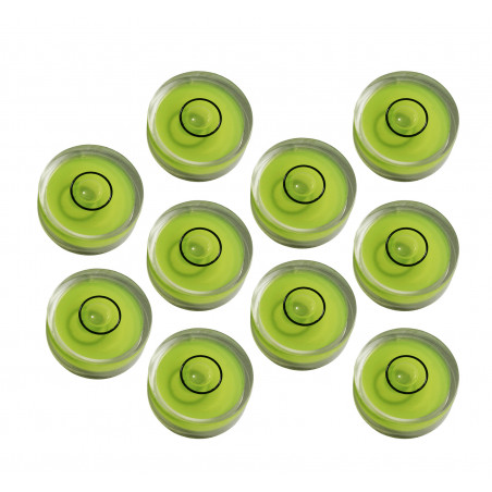 Set of 10 small round bubble levels size 6 (15x6 mm)