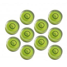 Ensemble de 10 petits niveaux à bulle ronds taille 2 (10x6 mm)