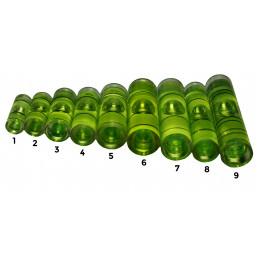 Set van 20 libellen voor waterpas (maat 8, groen)  - 2