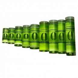 Ensemble de 20 flacons pour niveaux à bulle (taille 8, vert)  - 1