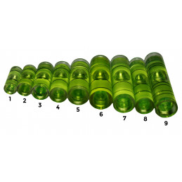 Set of 20 vials for spirit levels (size 4, green)  - 2
