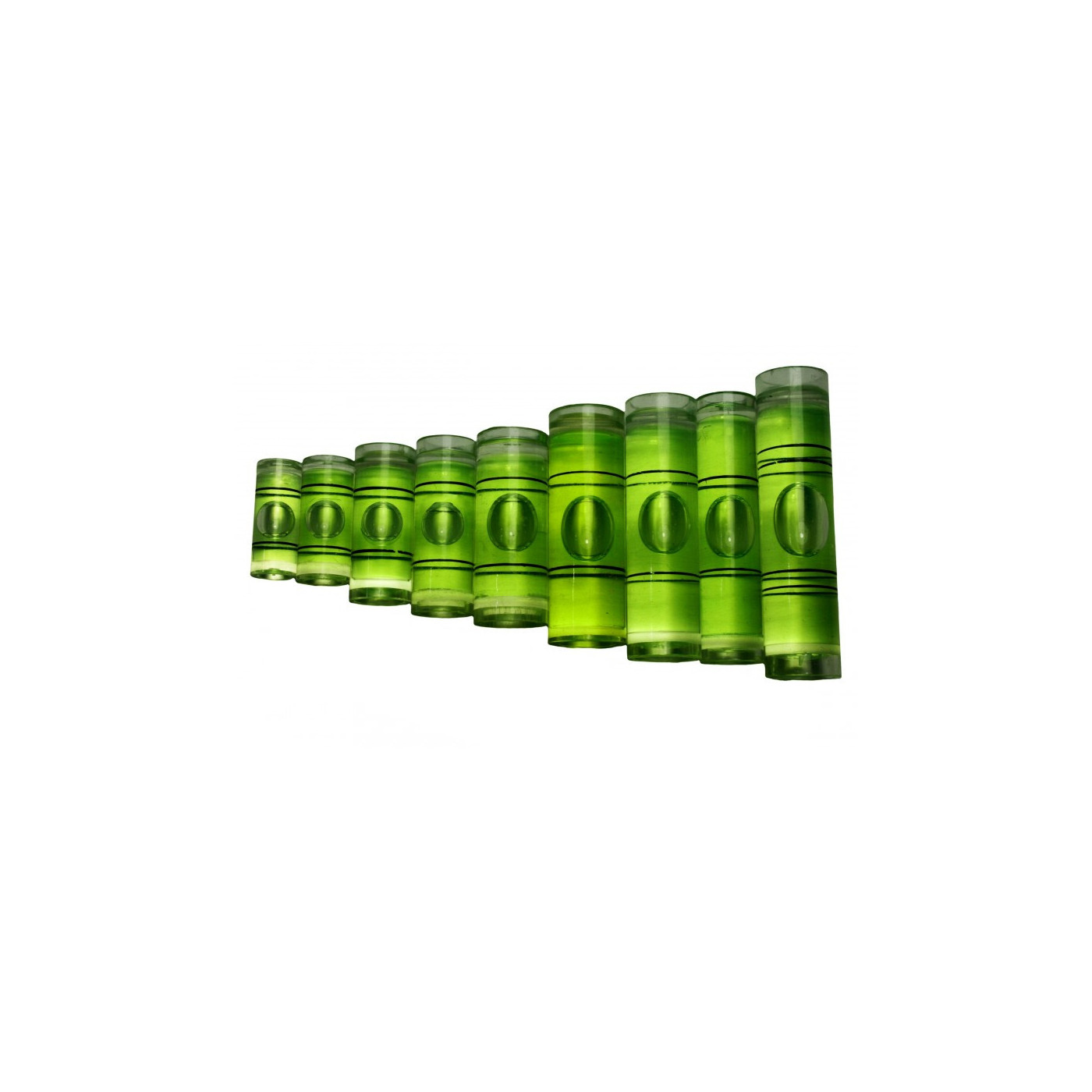 Set of 20 vials for spirit levels (size 4, green)  - 1