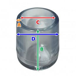Set von 16 flexibele Stuhlbeinkappen (Außenkappe, extra stark, rund, 12.7 mm, transparent) [O-RO-12.7-T-X]  - 3