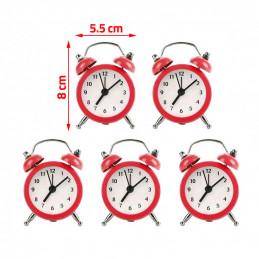 Set van 5 kleine wekkertjes, rood (op batterij)  - 2