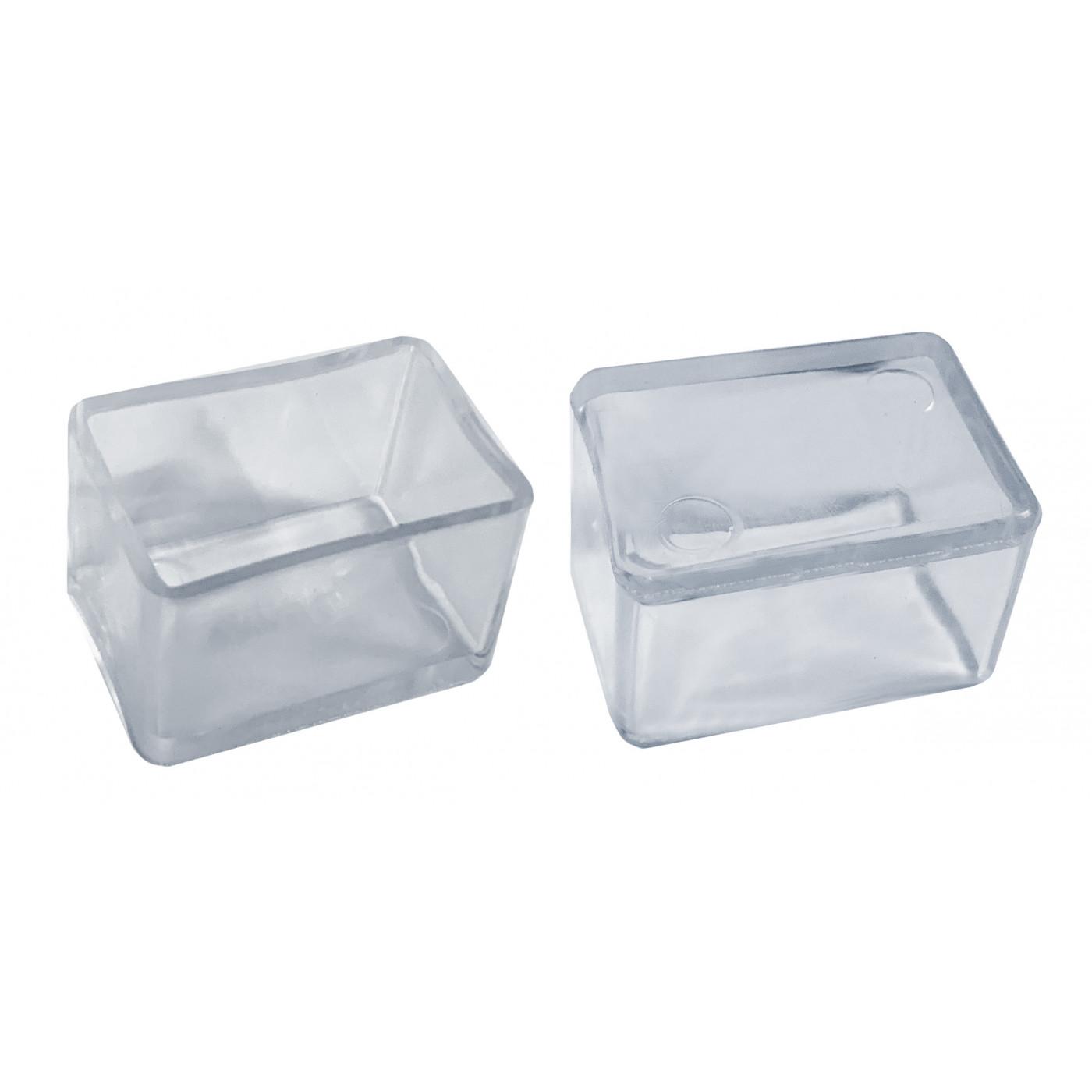 Juego de 32 tapas de silicona para patas de silla (exterior, rectangular, 20x30 mm, transparente) [O-RA-20x30-T]  - 1