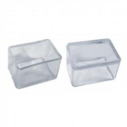 Juego de 32 tapas de silicona para patas de silla (exterior, rectangular, 20x40 mm, transparente) [O-RA-20x40-T]  - 1
