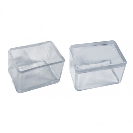 Set of 32 silicone chair leg caps (outside, rectangle, 25x38 mm, transparent) [O-RA-25x38-T]  - 1