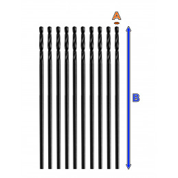 Set of 10 small metal drill bits (2.5x55 mm, HSS-R)