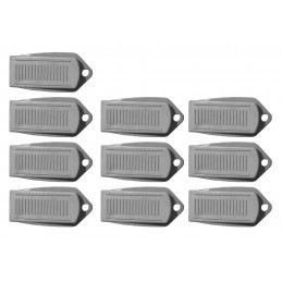Set of 10 door stoppers (5x10x2 cm, rubber, gray)