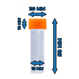 Set of 100 plastic test tubes (5 ml, polypropylene, with screw