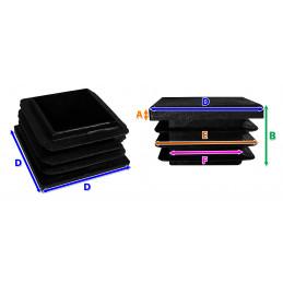 Set of 48 chair leg caps (F20/E24/D25, black)