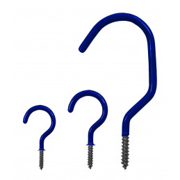 Set of 25 screw hooks (size 2, blue)  - 3