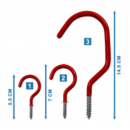 Set of 10 screw hooks (size 3: red)