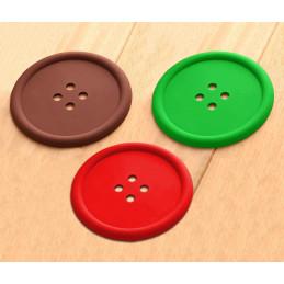 Lot de 15 sous-verres en silicone (rouge, vert, marron)  - 1