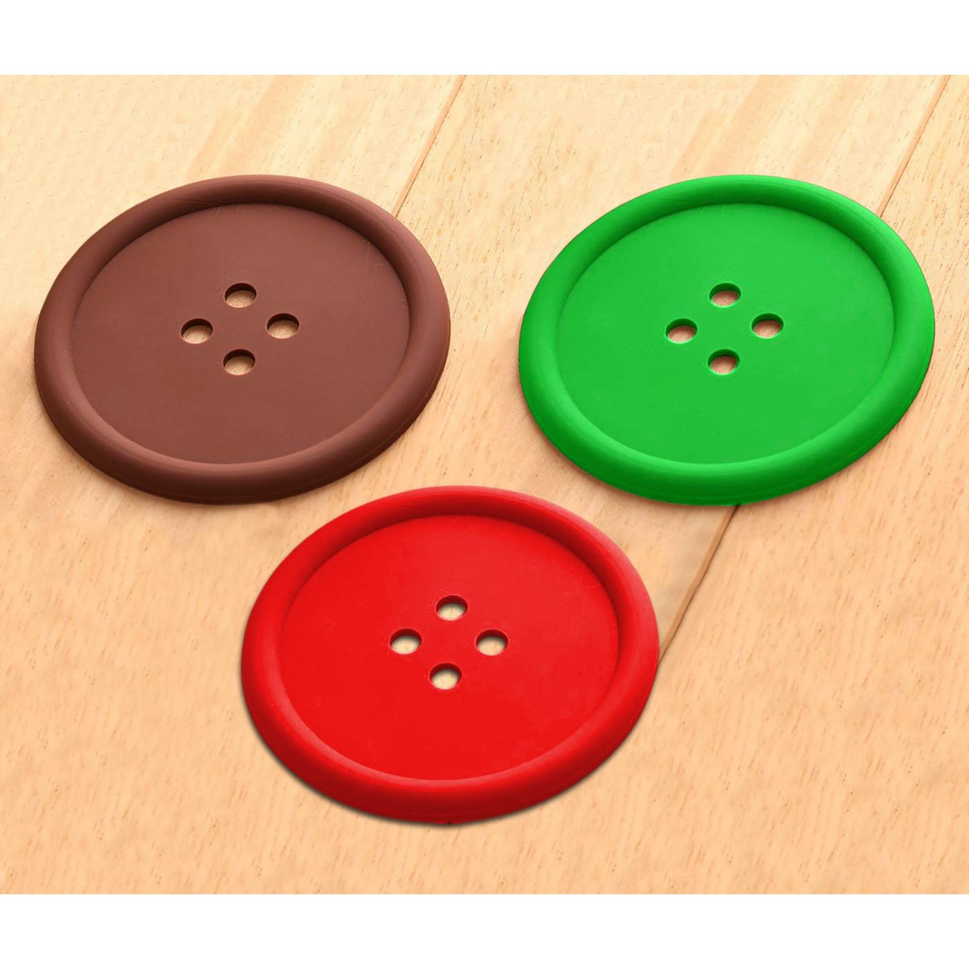 Set van 15 siliconen onderzetters (rood, groen, bruin)  - 1
