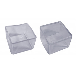 Juego de 32 tapas de silicona para patas de sillas (exteriores, cuadradas, 20 mm, transparentes) [O-SQ-20-T]  - 1