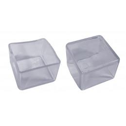 Set van 32 siliconen stoelpootdoppen (omdop, vierkant, 20 mm, transparant) [O-SQ-20-T]  - 1