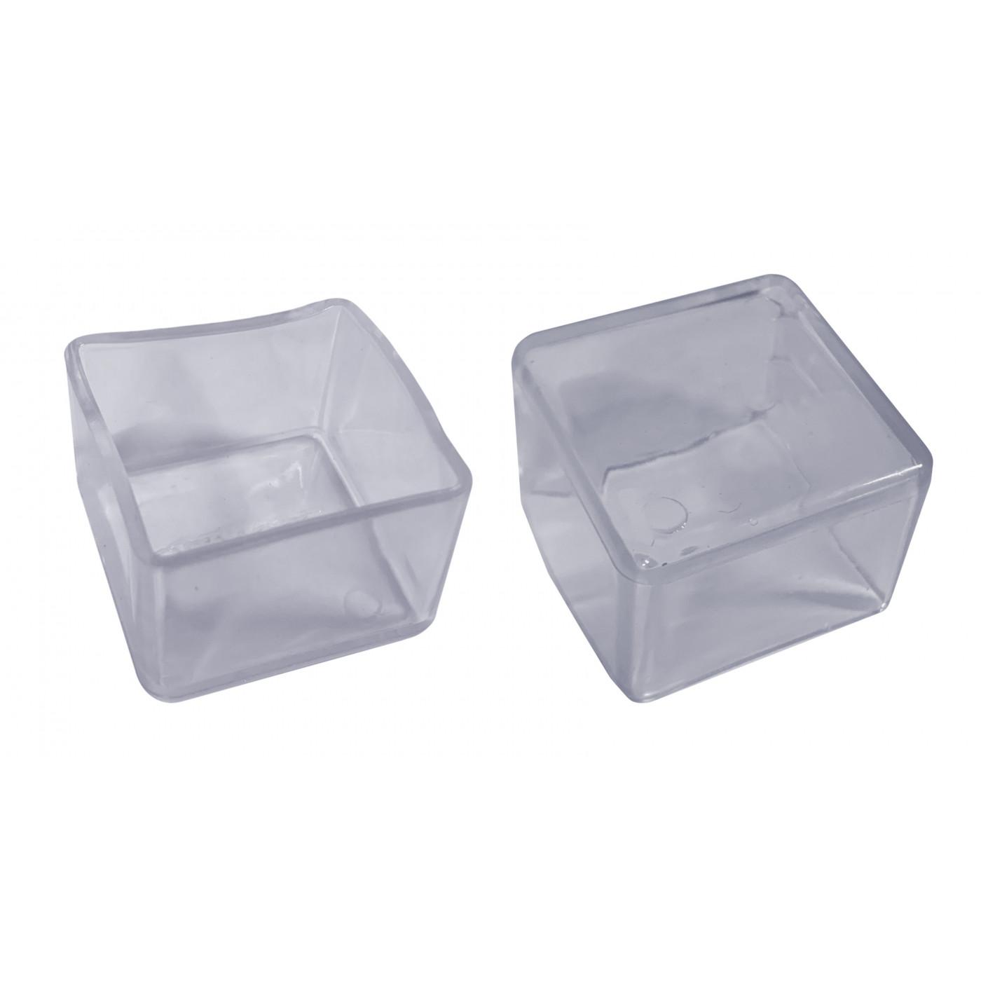 Jeu de 32 couvre-pieds de chaise en silicone (extérieur, carré, 25 mm, transparent) [O-SQ-25-T]  - 1