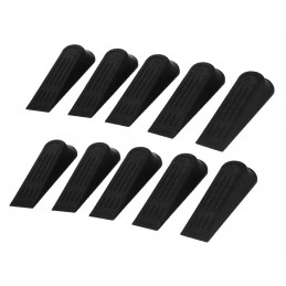 Set of 10 basic door stoppers (black plastic)