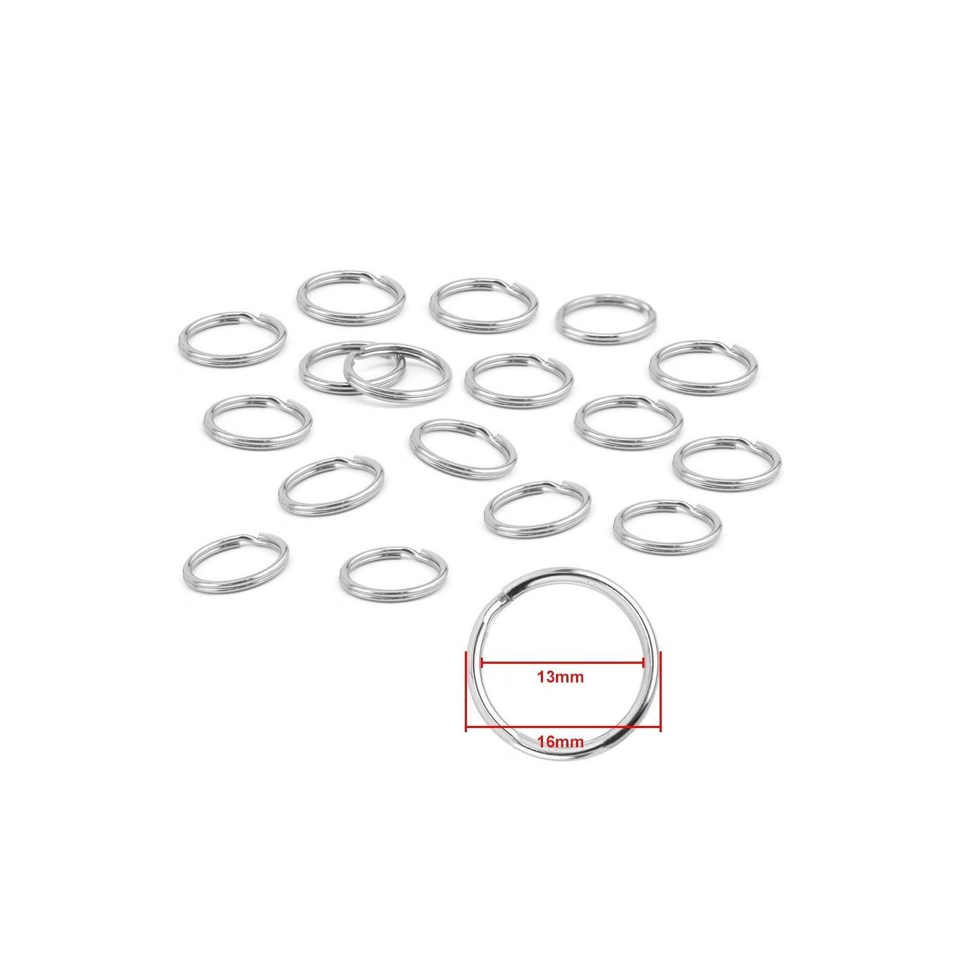 Conjunto de 180 llaveros para llaveros (16 mm, niquelado)  - 1