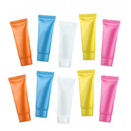Set of 50 refillable, cosmetic tubes (5 ml, mixed colors)