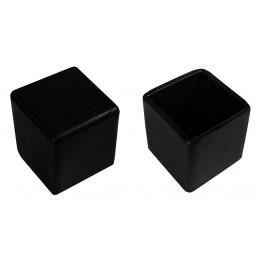 Jeu de 32 couvre-pieds de chaise en silicone (extérieur, carré, 40 mm, noir) [O-SQ-40-B]  - 2