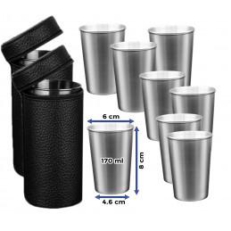 Ensemble de 8 tasses en acier inoxydable (170 ml) avec 2 sacs en cuir  - 2