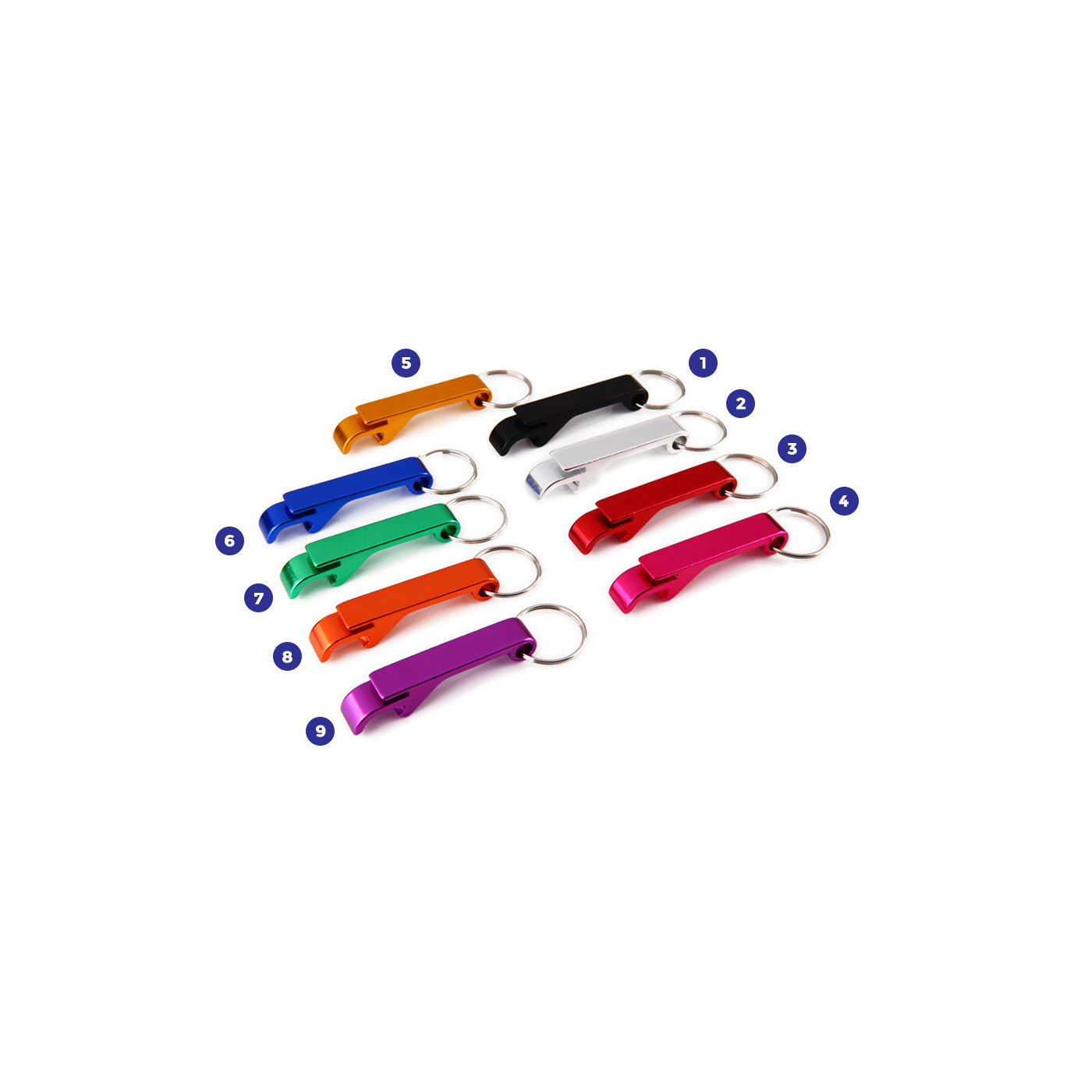 Set of 10 metal bottle openers, color 5: light orange