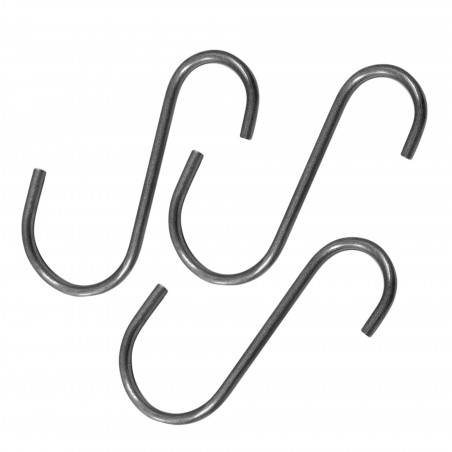 Set of 16 small stainless steel hooks (6 cm, silver)  - 1