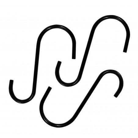 Set van 16 kleine roestvrijstalen ophanghaken (6 cm, zwart)