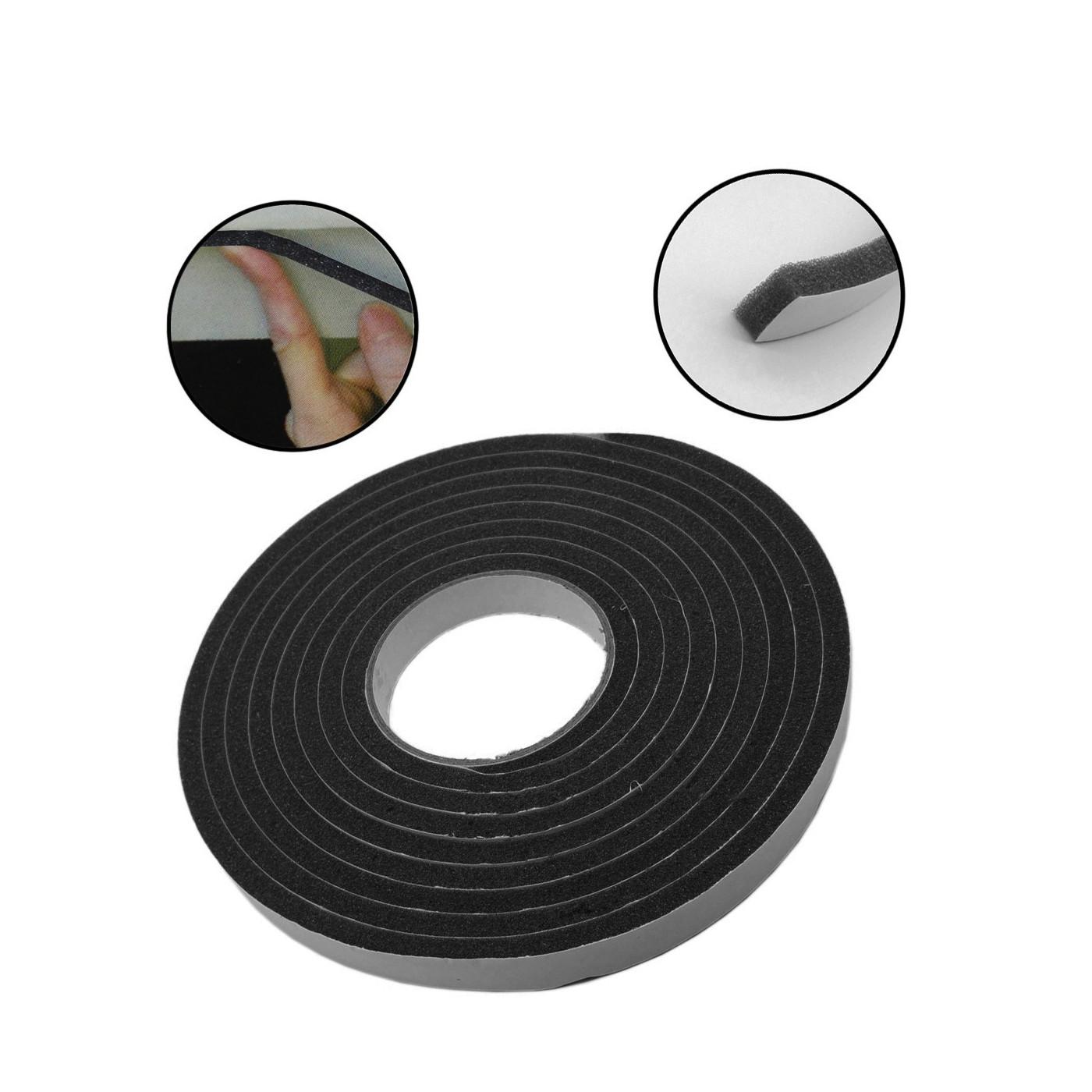 Conjunto de 12 metros de fita de vedação de 18 mm (espuma cinza / preto)  - 1