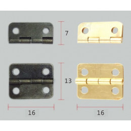 Set of 20 pieces small bronze hinges (16x13 mm)