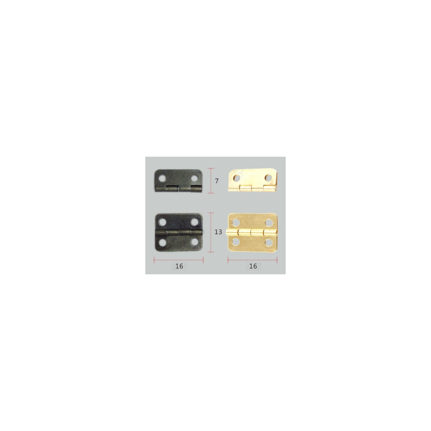 Set van 40 kleine bronzen scharniertjes, 16x13 mm