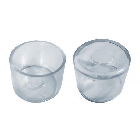 Set van 32 flexibele stoelpootdoppen (omdop, rond, 35 mm, transparant) [O-RO-35-T]  - 1