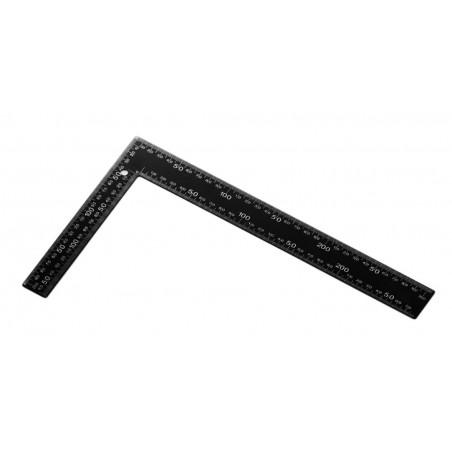 Metalen winkelhaak (zwart, 20x30 cm), inches en cm