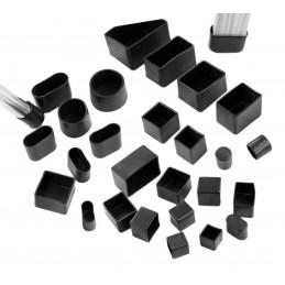 Jeu de 32 couvre-pieds de chaise en silicone (extérieur, carré, 38 mm, noir) [O-SQ-38-B]  - 4