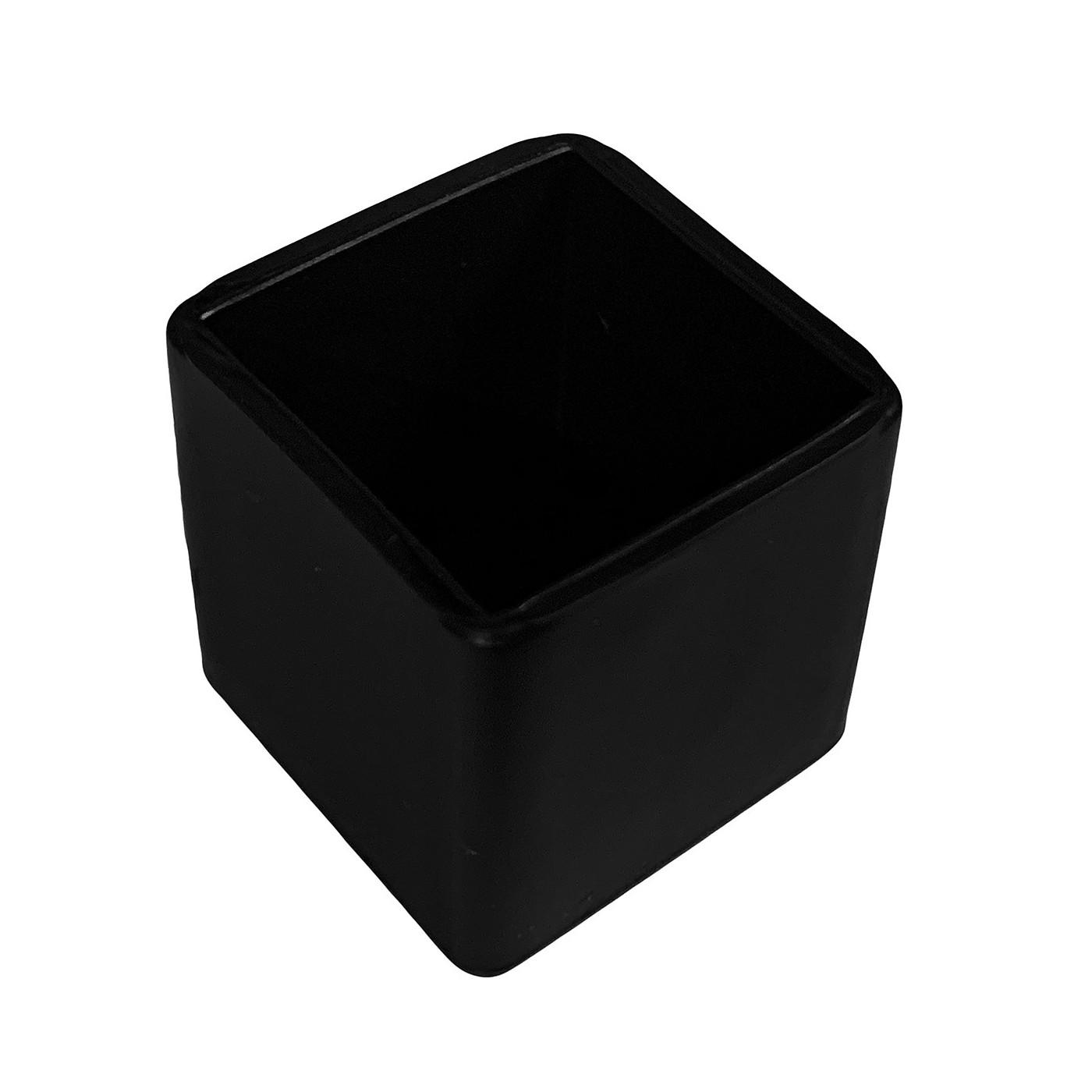Jeu de 32 couvre-pieds de chaise en silicone (extérieur, carré, 38 mm, noir) [O-SQ-38-B]  - 1