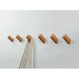 Set of 6 wooden clothes hooks, ash wood  - 1
