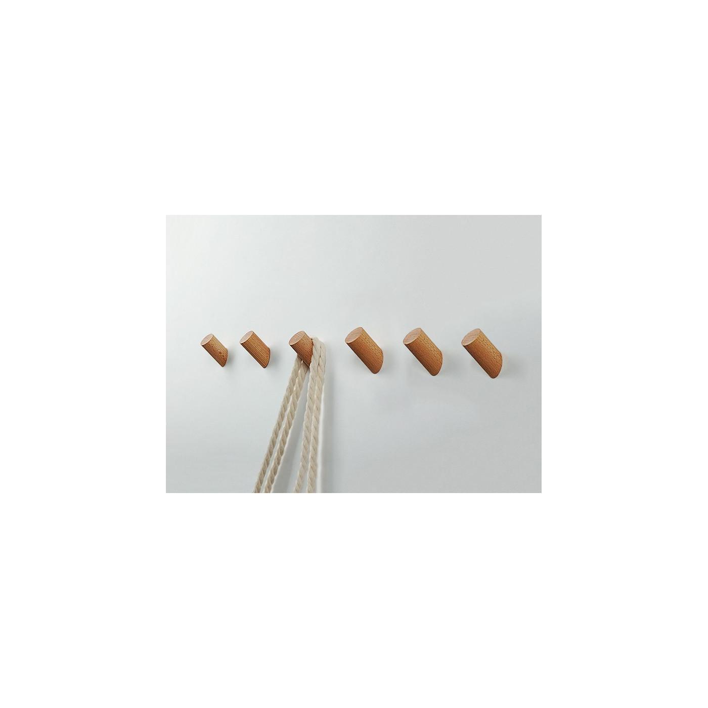 Conjunto de 6 ganchos de madera, madera de fresno  - 1