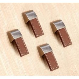 Set of 4 leather handles (single hole, brown)