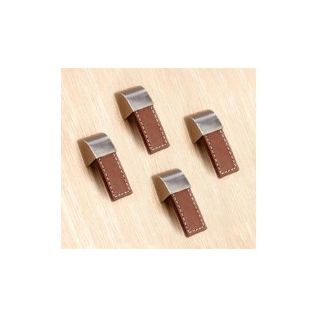 Set of 4 leather handles (single hole, brown)  - 1