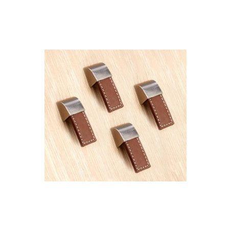 Zestaw 4 skórzanych uchwytów (pojedynczy otwór, brązowy)  - 1