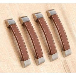 Set van 4 lederen handvaten (128 mm, bruin)