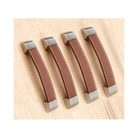 Set of 4 leather handles (128 mm, brown)