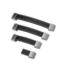 Set of 4 leather handles (128 mm, black)
