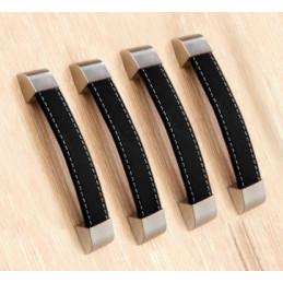 Set van 4 lederen handvaten (128 mm, zwart)